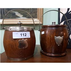 TWO VINTAGE WOODEN BISCUIT BARRELS