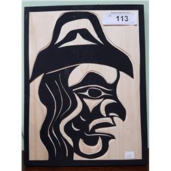 "SIGNED NATIVE CARVED PLAQUE ""CHIEF"""