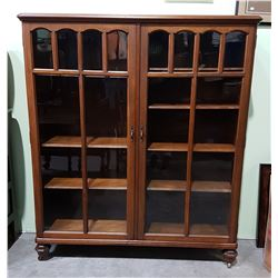 VINTAGE MAHOGANY DOUBLE DOOR DISPLAY CABINET