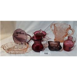 LOT OF 7 PCS CRANBERRY GLASS