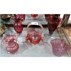 FIVE PCS CRANBERRY GLASS