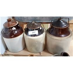 THREE ANTIQUE CROCK LIDDED JARS