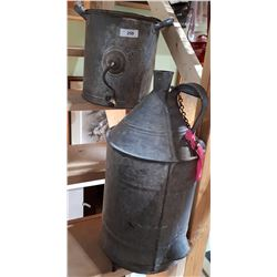 ANTIQUE GALVANIZED BUTTER CHURN & WATER CONTAINER