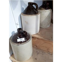 THREE ANTIQUE CROCK JUGS