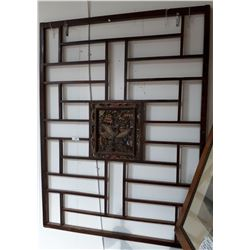 ASIAN CARVED WOOD PANEL W/PHOENIX MOTIF