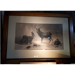 1920'S LITHOGRAPH BLACK & WHITE STAG & DOE IN WOOD FRAME