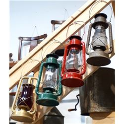 FOUR VINTAGE BARN LANTERNS