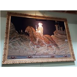 GILT FRAMED MUSEUM QUALITY TAPESTRY OF KNIGHT ON HORSEBACK C.1528