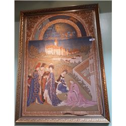 GILT FRAMED VERY FINE QUALITY EUROPEAN TAPESTRY DEPICTING THE SUMMER SOLSTICE
