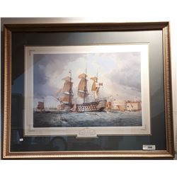 FRAMED HMS VICTORY PRINT BY WH BISHOP