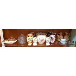 SHELF LOT OF GLASS & CHINA COLLECTIBLES