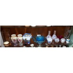 SHELF LOT OF GLASS & PORCELAIN COLLECTIBLES