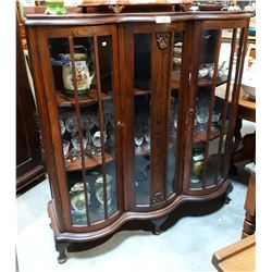 ANTIQUE OAK TRIPLE BOW FRONT DISPLAY CABINET