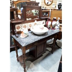VICTORIAN WASH STAND W/MARBLE TOP