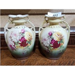 PAIR ENGLISH VICTORIAN PORCELAIN VASES