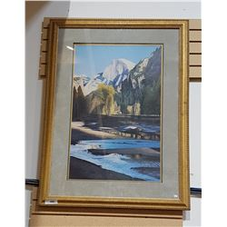 LARGE FRAMED PRINT OF MOUNTAIN & RIVER