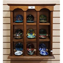 MAHOGANY WALL DISPLAY CABINET W/18 PCS CLOISONNE