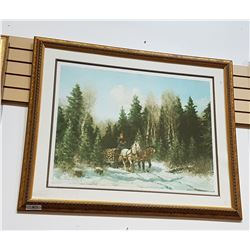 "FRAMED PRINT TITLED ""LAURENTIAN TIMBER ROAD"" SIGNED"