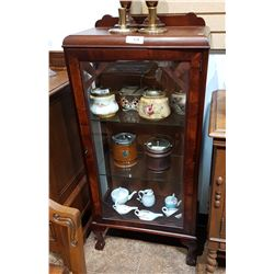 SMALL MAHOGANY DISPLAY CABINET W/BALL IN CLAW FEET