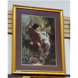 LARGE GILT FRAMED PRINT OF BOY/GIRL ON SWING