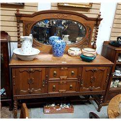OAK BARLEY TWIST SIDEBOARD W/LARGE MIRRORED GALLERY