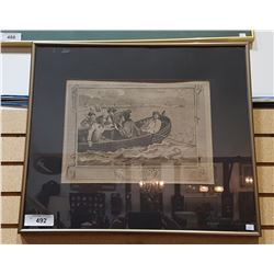 "FRAMED PRINT TITLED ""TURNED AWAY & SENT TO SEA"""