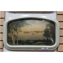 VINTAGE LAKE SCENE PRINT IN CONVEX GLASS