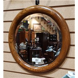 ANTIQUE OAK FRAMED BEVELLED GLASS MIRROR