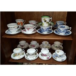 LOT OF 17 BONE CHINA TEACUPS/SAUCERS