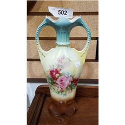 ANTIQUE GERMAN PORCELAIN DOUBLE HANDLED VASE