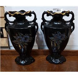 PAIR LARGE PORCELAIN VASES