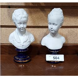 PAIR LIMOGES BUSTS