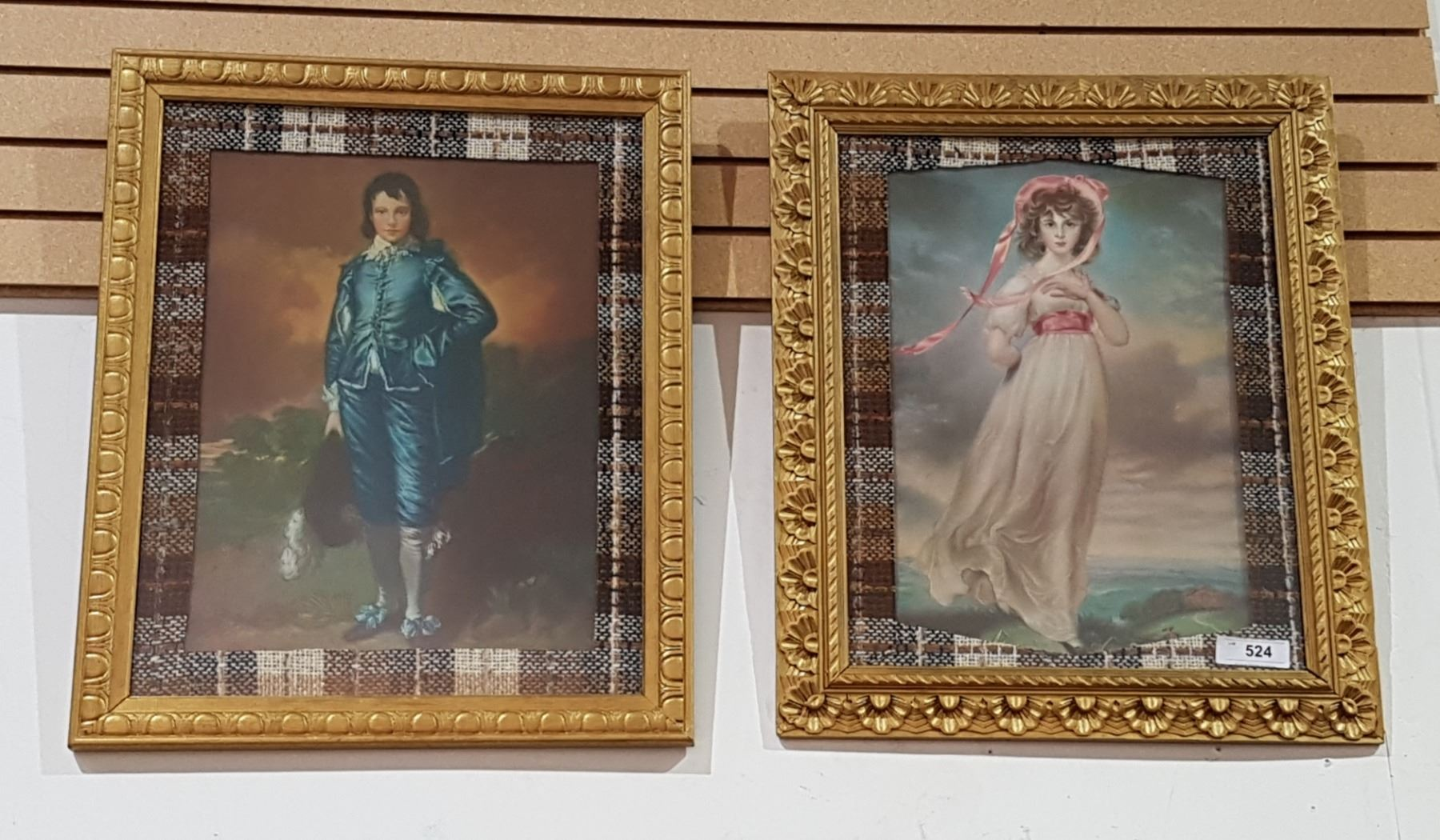 Image 1 Pair Gilt Framed Prints Of Blue Boy Pink Lady
