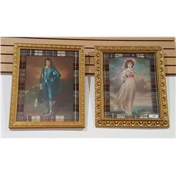 PAIR GILT FRAMED PRINTS OF BLUE BOY & PINK LADY