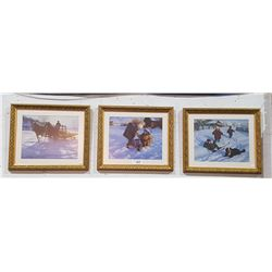 SET OF 3 GILT FRAMED PRINTS SIGNED
