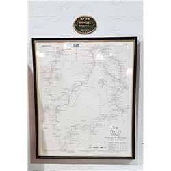 FRAMED MAP THE AVON RING W/BRASS PLAQUE