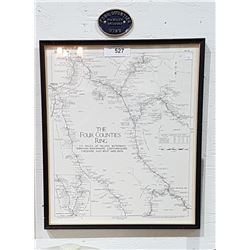 FRAMED MAP THE FOUR COUNTIES RING W/BRASS PLAQUE