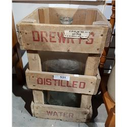 VINTAGE DREWRY'S DISTILLED WATER BOTTLE IN ORIGINAL SHIPPING CRATE