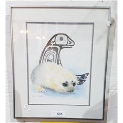 SIGNED PRINT OF A SEAL BY SUE COLEMAN