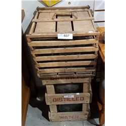 ANTIQUE WOODEN EGG CRATE W/MILK BOTTLES