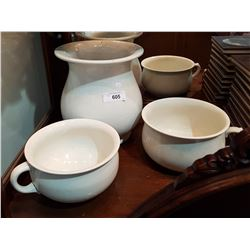 TWO CHAMBER POTS AND JUG