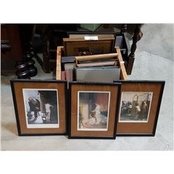 VINTAGE WOOD CRATE W/VINTAGE PICTURE