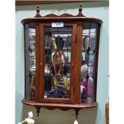 OAK & GLASS WALL DISPLAY CABINET W/17 MINIATURES