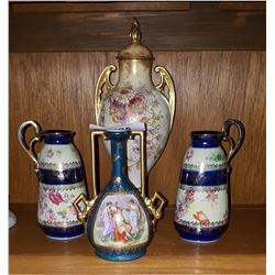 LOT OF 4 VICTORIAN PORCELAIN VASES