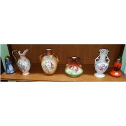 SHELF LOT 6 VICTORIAN VASES & SUGAR SHAKERS