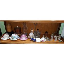 APPROX 34 PCS INC TEACUPS, SALT & PEPPERS, VASES ETC