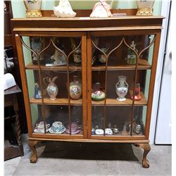 ANTIQUE OAK DOUBLE DOOR DISPLAY CABINET