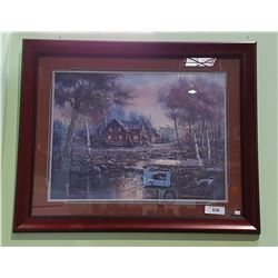 FRAMED PRINT OF LOG HOUSE