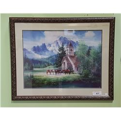 FRAMED PRINT OF HORSES IN FRONT OF COUNTRY CHURCH SIGNED