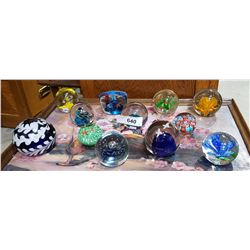 LOT OF 12 ART GLASS PAPER WEIGHTS